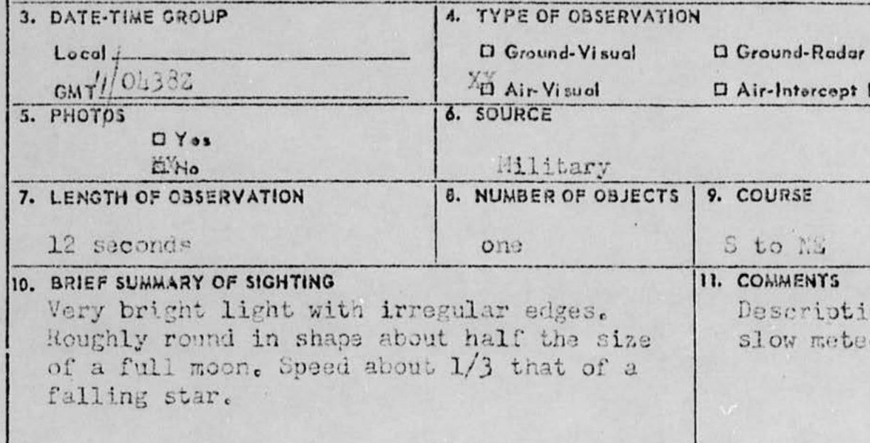 An excerpt from the military's UFO sighting project Blue Book dated from the 1960s