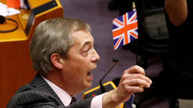 'Goodbye!' Farage trolls EU Parliament with Brexit one last time, waving Union Jack flag before mic is cut off for 'hate'